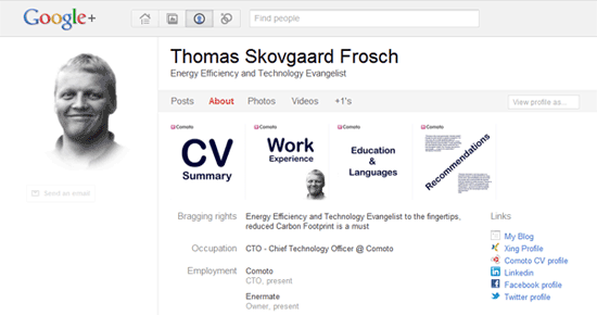 Use your new Google profile as an interactive CV Comoto